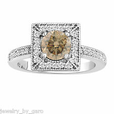 1.34 CARAT FANCY CHAMPAGNE AND WHITE DIAMOND COCKTAIL RING 14K WHITE GOLD