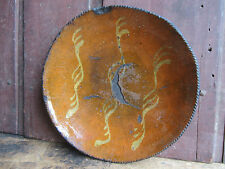 """Antique New England Redware Slip Decorated 11 ½"""" Pie Plate Long Used Relic 1780"""