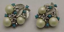 Vintage SARAH COVENTRY Clip-on Earrings White Simulated Pearl Nice Silver Tone