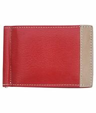 ALW Genuine Leather ATM Debit Credit Card holder with money clipper - Red