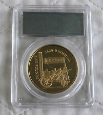 ALDERNEY 2006 THE ROCKET £5 GOLD PLATED SILVER PROOF CROWN SLABBED CGS 98