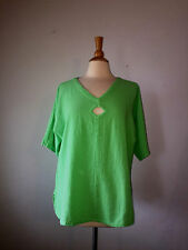 2/L/XL ) Oh My Gauze Gorgeous Bright Green Cut Out Cotton Gauze Top