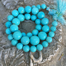GIA 8.2MM-14.25MM Sleeping Beauty Turquoise Smooth Round Rondelle 18 inch strand