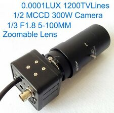 0.0001LUX 1200TV Lines 1/2 MCCD Camera Night Vision Sight w/ 5-100mm Lens