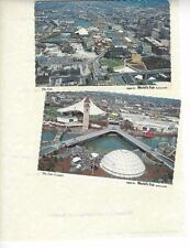 Spokane, WA, 2 Continental Postcards,  Aerial Views of World's Fair