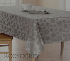 The Big One Silver Snowflake Tablecloth 60x102 Oblong NIP