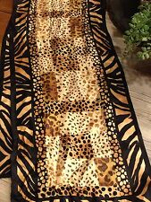 NWT ADRIENNE LANDAU STUDIO LONG SILK SCARF ANIMAL PRINT BROWN BLACK  GOLD $45.00