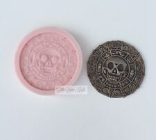 Pirate Skull Coin Money Silicone Poured Mold mould Fondant clay Resin Sugarcraft