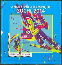 NIGER 2013 SOCHI 2014 WINTER OLYMPIC GAMES SKI S/SHEET
