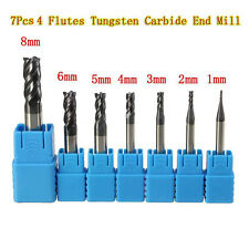 7Pcs 4 Flutes Tungsten Carbide End Mill Set Straight Shank CNC tool 1MM-8MM