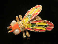 """Rare Vtg 2"""" Signed ART Gold Tone Yellow Enamel Faux Pearl Insect Bug Brooch A76"""
