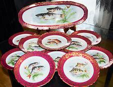ANCIENNE SERVICE à poisson en porcelaine véritable LIMOGES FRANCE PLAT ASSIETES
