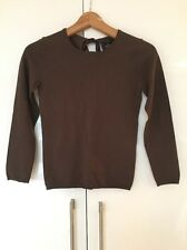 Theory Brown Wool Cutout Tie Back Sweater Jumper P XS S Small New NWT