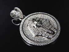 Simulated Diamond Egyptian Pharoah Medallion Pendant In White Gold Finish 1.5""
