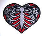 Real Ribcage Heart embroidered iron on patch tattoo rockabilly punk applique- 10