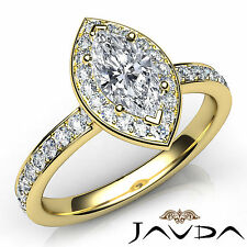 Marquise Cut Diamond Engagement Halo Pave Ring GIA H VS1 18k Yellow Gold 0.95Ct