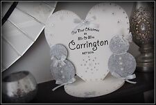 'Our First Christmas as Mr&Mrs PERSONALISED SURNAME' Wooden Heart and Snowmen