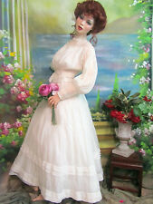 ANTIQUE Victorian era WEDDING Dress SUMMER Gown BATISTE cotton LACE pin tucks S