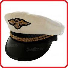 WHITE / BLUE CAPTAIN HAT-PILOT,AIR FORCE,MILITARY,NAVY,YACHT,SKIPPER,SAILOR-3