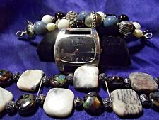 Narmi Woman's Watch with 2 Bands **Vintage Stone & Glass Beads**   ME 042