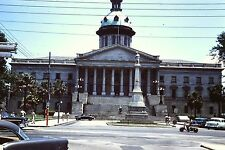35mm slide STREET SCENE State Capital Building Columbia SC 1960 Scooter & Cars