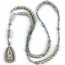 Silver Virgin Mary Our Lady of Guadalupe Crystal Rhinestone Rosary Rosario