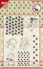 Joy Crafts Clear Rubber Stamp Set CHRISTMAS FUN IN THE SNOW 6410/0121  Reduced