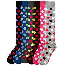 6 Pairs Women Comfort Socks Girls Polka Dot Long Knee High Pack 9-11 Lot