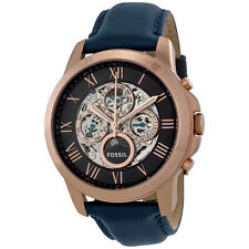 Fossil Grant Multi-Function Black Skeletal Dial Navy Leather Mens Watch ME3029