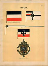 1899 4 PG Germany Jack Imperial Coat Of Arms Emperor's Maritime Ship Flag PRINT