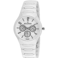 Skagen Unisex Multi-Function Mother Of Pearl Dial White Ceramic Bracelet Watch 8