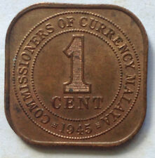 Commissioners of Currency Malaya 1 cent 1945 coin (B)