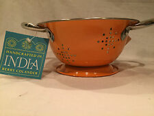NWT BERRY COLANDER, Handcrafted in INDIA, Orange, 2 Handles, FREE SHIPPING
