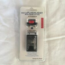 Kikkerland FL12 Snap-On LED Flashlight with Strobe Setting - Super Bright