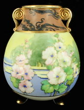 ANTIQUE NIPPON HAND PAINTED FLORAL TREES & SEA SCAPE MORIAGE FOOTED VASE 7""