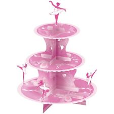 BALLET BALLERINA PINK CANDY SWEET BUFFET  CUPCAKE PARTY STAND~3 TIER~FREE PP UK