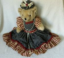 VIintage Jointed Teddy Bear in USA American Flag Dress