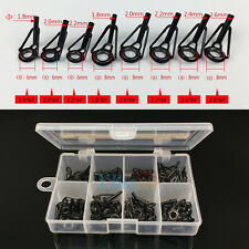 Durable 80pcs Stainless Steel Fishing Rod Guide Tip Tops Repair Kit Eye Rings WD