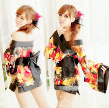 Cosplay Japanese Kimono Pajamas Women's Sexy Lingerie  Set  Dress