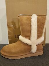 UGG Australia Short Carter Boots Chestnut Sheepskin Suede Size 6 Authentic UGG !