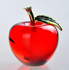 130pc Wholesale 3D Crystal Paperweight Red Glaze Apple Figurine Glass Decor Gift