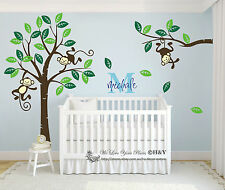 Custom Personalised Name Monkey Tree Wall Art Stickers Kids Nursery Vinyl Decals