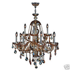 USA BRAND Provence Italian Venetian 12 Light Amber Crystal Chandelier Two 2 Tier
