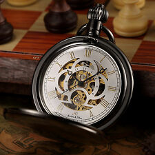 KS Retro Vintage Mens Rome Numbers Dial Automatic Mechanical Chain Pocket Watch