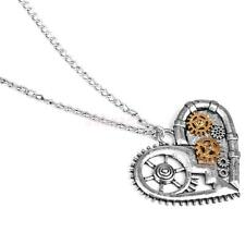 Retro Steampunk Necklace Heart Pendant Watch Gears Parts Mechanical Jewelry