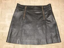 ~ J Crew COLLECTION~Women's Black Leather Zip Pencil Short Skirt~ Sz 2~LNC~
