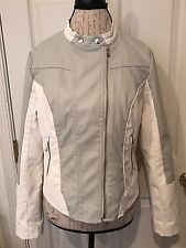 Collection By Bernardo Women's L Jacket Faux Leather Biker Ivory Grey