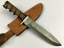 Ash dr1w damascus steel handmade hunting bowie knife 13""
