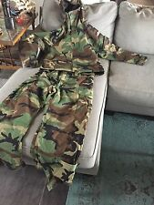 Mens hunting camo overall bib pants jacket M CHARCOAL LINED Army Scent Reduction