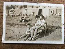 c1920 B/W Postcard lady & child on Margate Beach Deckchair & Huts Real Photo